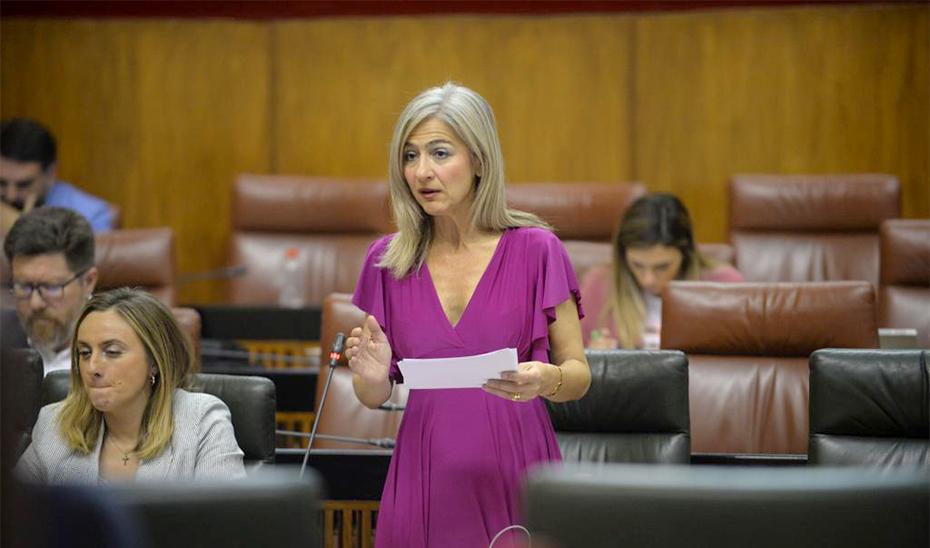 Patricia del Pozo, durante su intervención en el Pleno del Parlamento de Andalucía