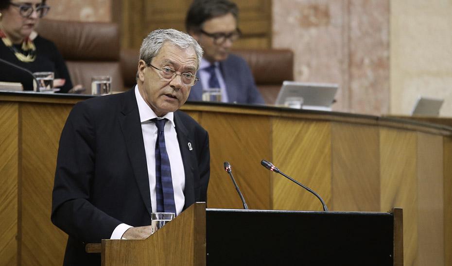 El consejero de Economía, durante su intervención en el Parlamento.