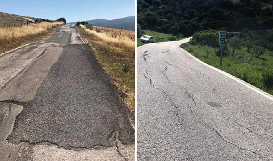 Carretera A-373 con evidentes deficiencias como un firme irregular, numerosos baches y una vía estrecha que dificulta la normal circulación.