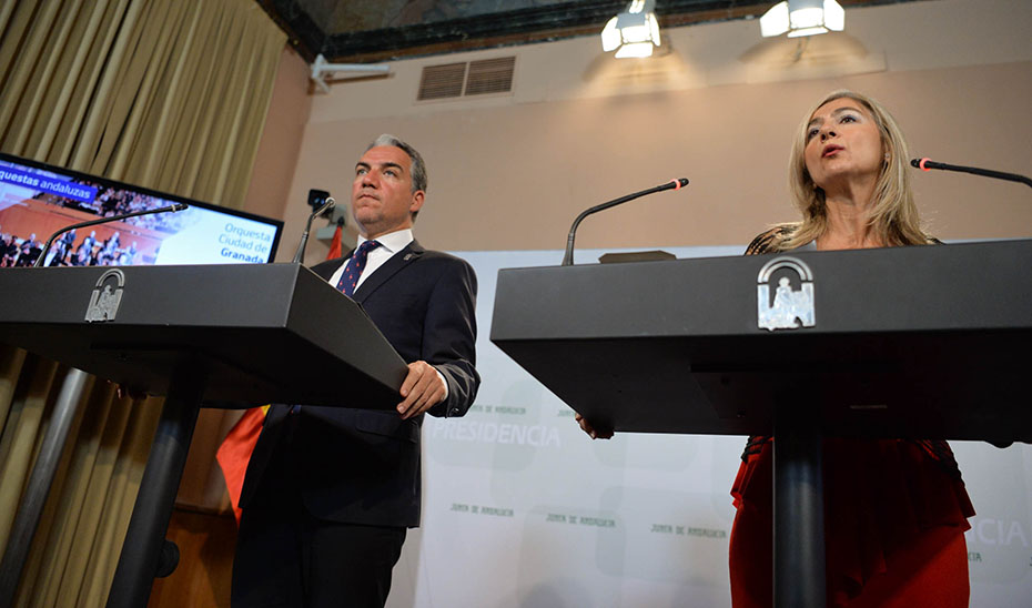 Conparecencia informativa de Elías Bendodo y Patricia del Pozo tras el Consejo de Gobierno (audio íntegro)