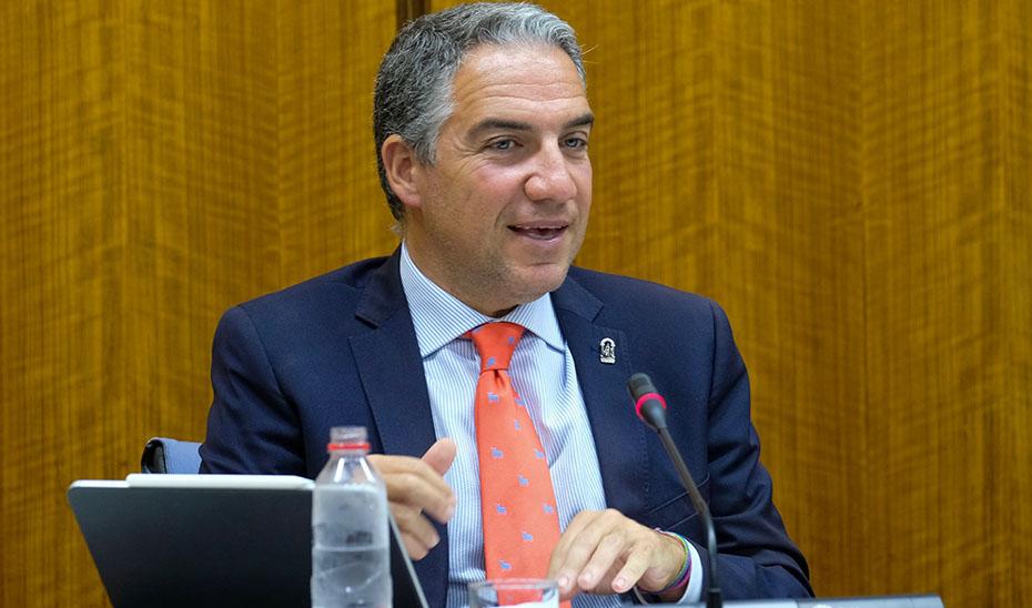 El consejero de la Presidencia, durante su intervención en la comisión parlamentaria.