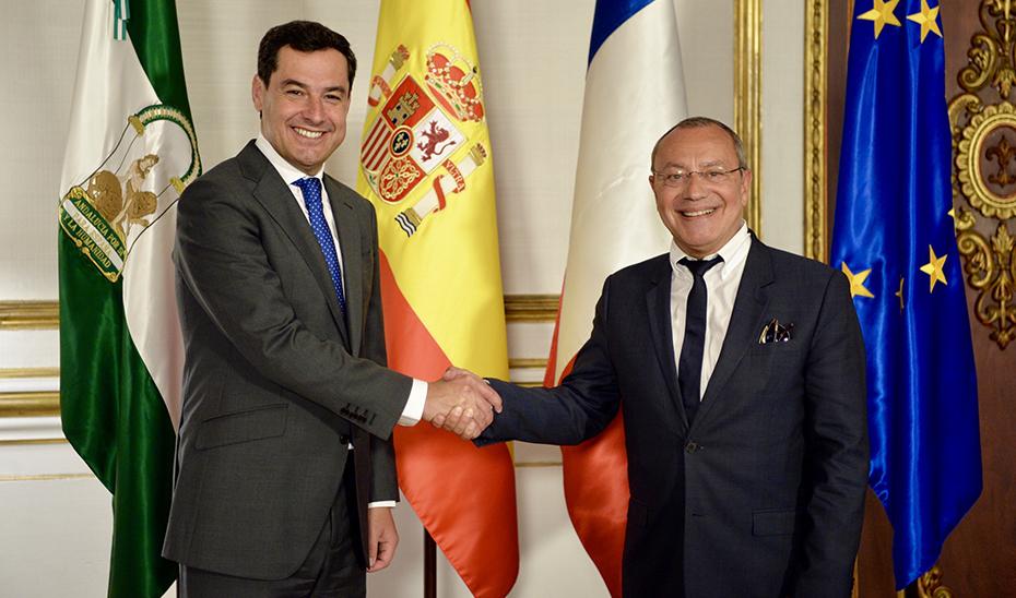 Juanma Moreno y Jean-Michel Casa, en San Telmo.