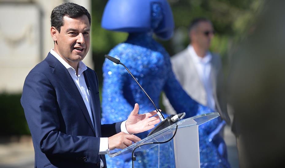 Intervención del presidente Juanma Moreno en la inauguración de la exposición Ecomeninas Andalucía Gallery