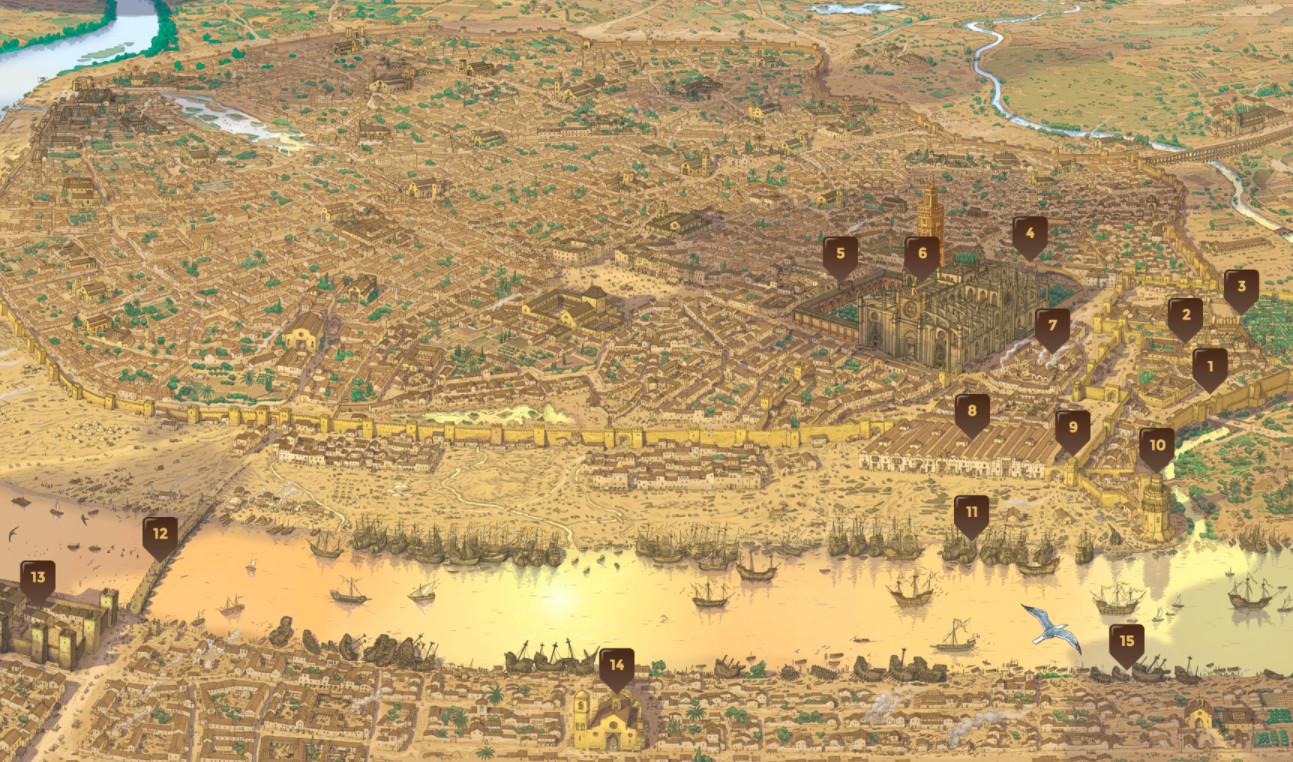Las quince escalas en Sevilla vinculadas a la gestación de la expedición Magallanes-Elcano.