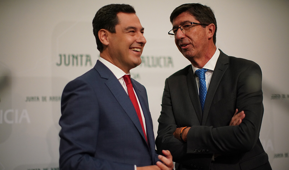 Comparecencia informativa de Juanma Moreno y Juan Marín posterior al Consejo de Gobierno (audio íntegro)