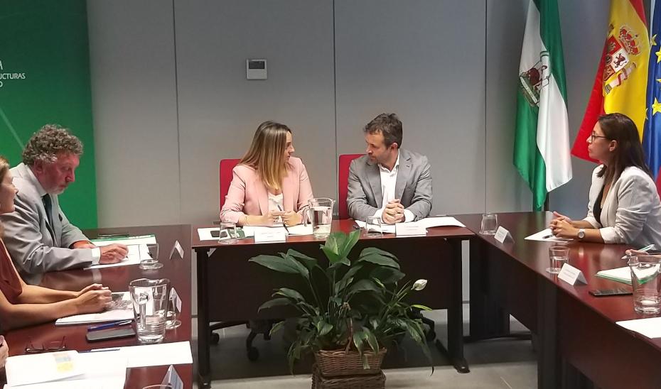 La consejera Marifrán Carazo y el alcalde de Jaén, Julio Millán, en la reunión para desbloquear el tranvía.