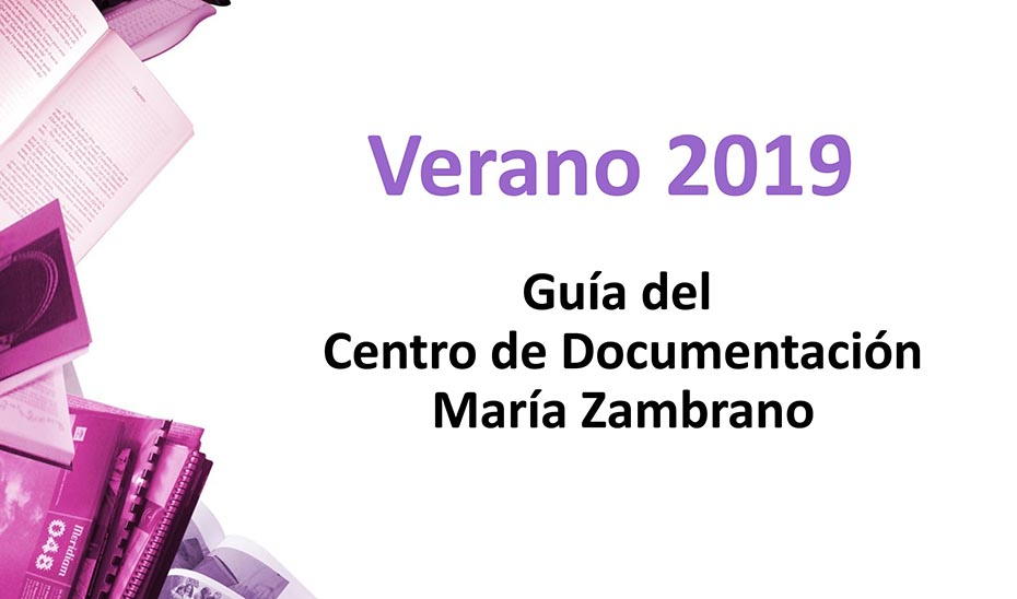 Detalle de la portada de la Guía Verano 2019 elaborada para el IAM por el Centro de Documentación María Zambrano.