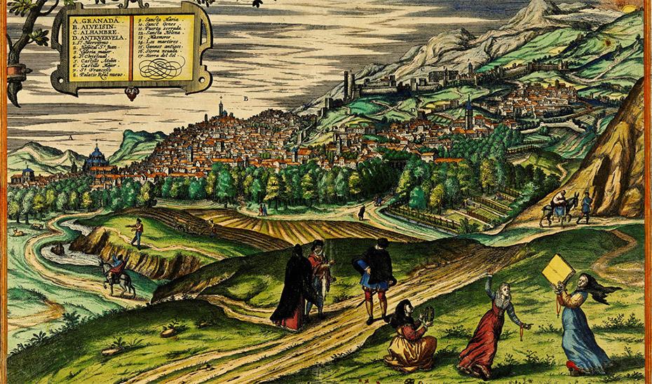 Detalle de la portada del último número de \u0027Andalucía en la Historia\u0027 con la panorámica de Granada extraída del \u0027Civitates Orbis Terrarum\u0027.