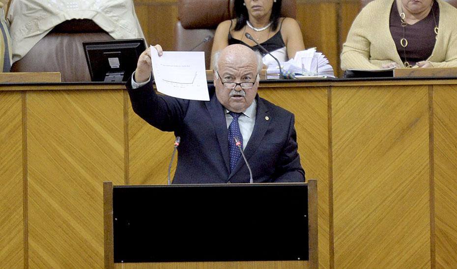El consejero Jesús Aguirre ante el Pleno de la Cámara andaluza.