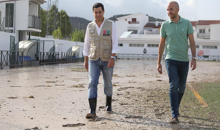 Moreno anuncia que ha dado instrucciones para poner en marcha las ayudas a los ayuntamientos tras las inundaciones