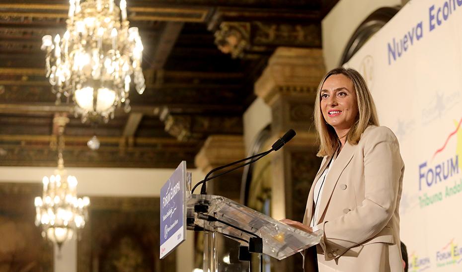La consejera Marifrán Carazo durante su intervención este miércoles en el Forum Europa Nueva Economía.