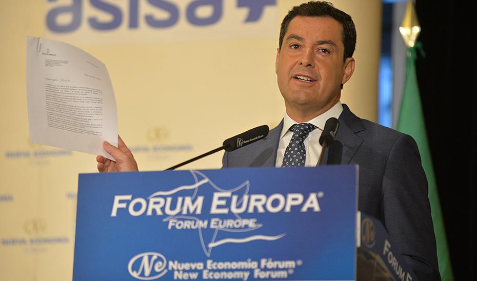 Conferencia del presidente del Gobierno de Andalucía en el Fórum Europa