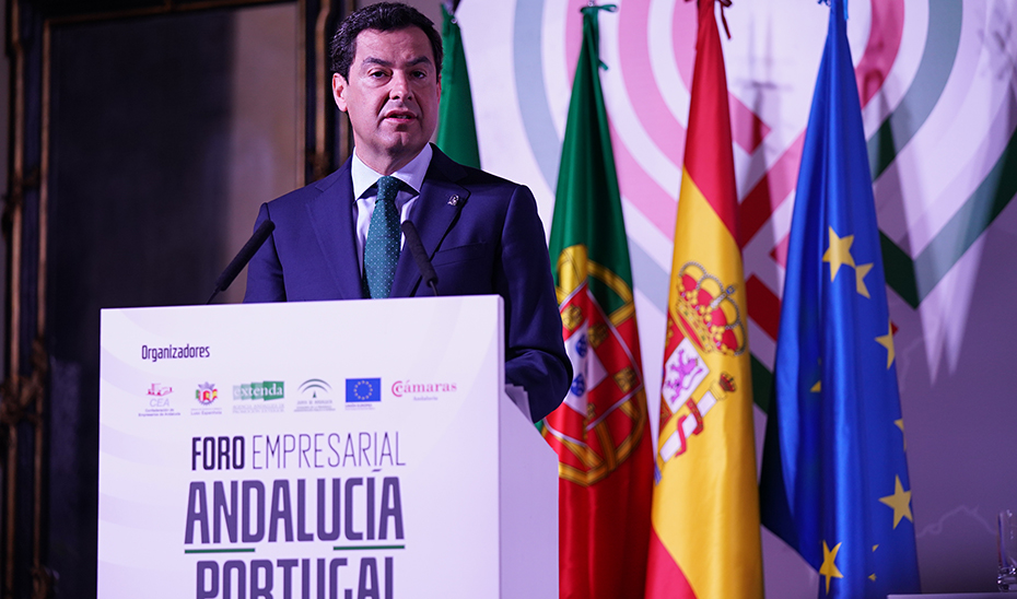 Intervención de Juanma Moreno en la inauguración del Foro Económico Andalucía-Portugal de Lisboa