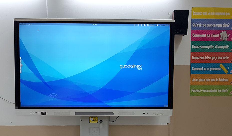 Pizarra digital en un aula.