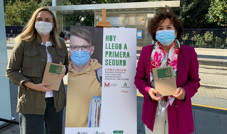La consejera de Fomento, Marifrán Carazo, presenta la campaña promoviendo el uso del metro entre los universitarios.