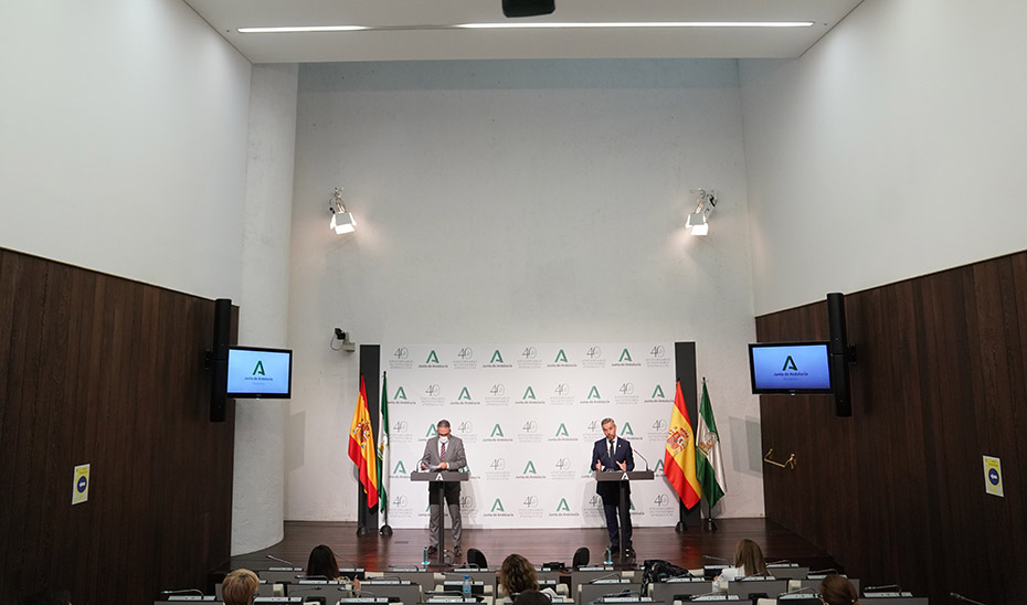 Comparecencia informativa de Elías Bendodo y Juan Bravo tras la reunión del Consejo de Gobierno (audio íntegro)