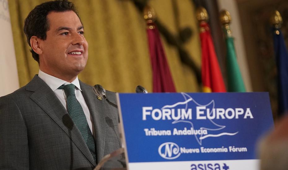 Intervención de Juanma Moreno en el coloquio 'Fórum Europa. Tribuna Andalucía' organizado por Nueva Economía Fórum