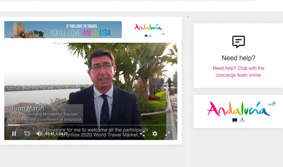 El vicepresidente de la Junta y consejero de Turismo, Juan Marín, durante su intervención en la edición virtual de la World Travel Market (WTM).