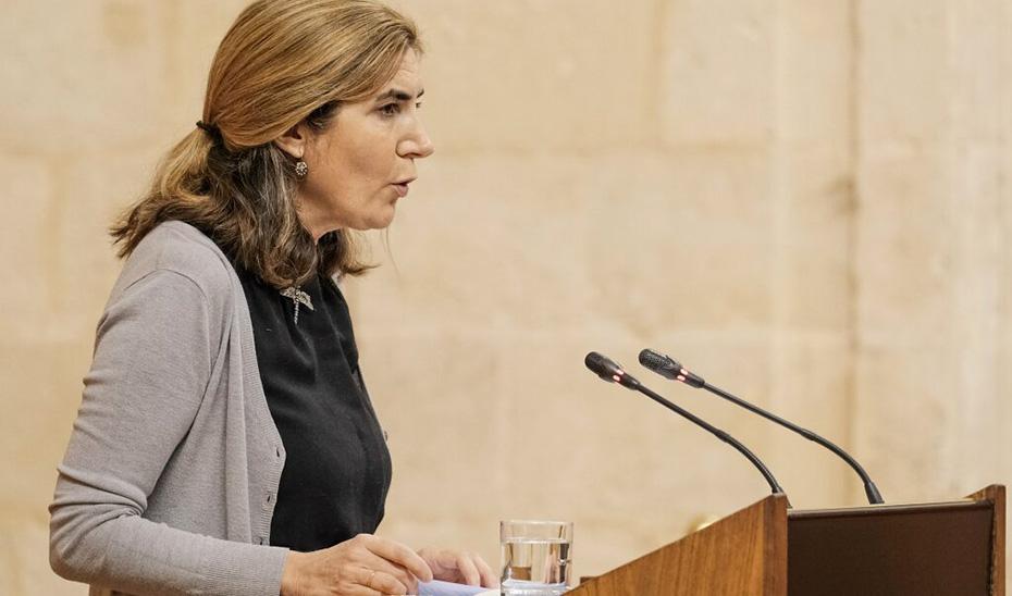 La consejera Rocío Blanco responde a la interpelación desde el estrado del Parlamento de Andalucía.
