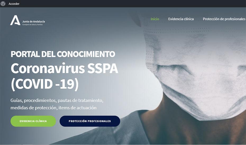 Nuevo portal de la Consejería de Salud sobre Covid-19 destinada a profesionales sanitarios.