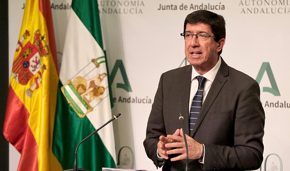 Comparecencia de Juan Marín tras intervenir ante la Diputación Permanente del Parlamento de Andalucía