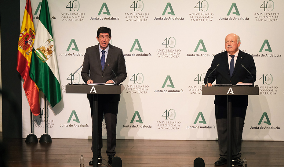 Comparecencia de Juan Marín y Jesús Aguirre tras la reunión del Comité de Seguimiento por el coronavirus (audio íntegro)