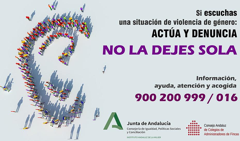 Cartel de la campaña impulsada por el IAM con los administradores de fincas contra la violencia machista en pleno confinamiento.