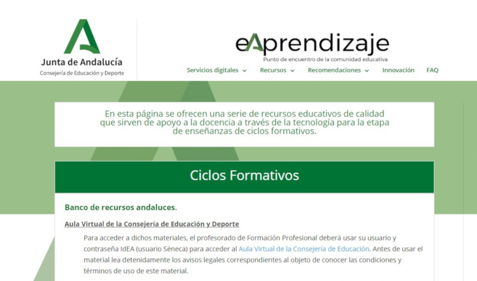 La web eAprendizaje es una de las herramientas donde el profesorado de FP puede encontrar material y recursos digitales.