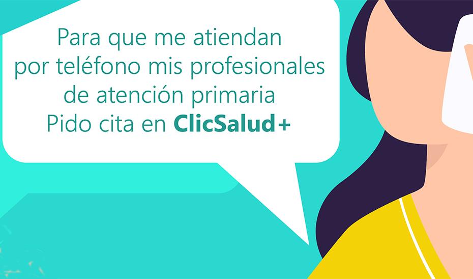 Imagen informativa sobre la petición de cita para atención sanitaria en ClicSalud+.