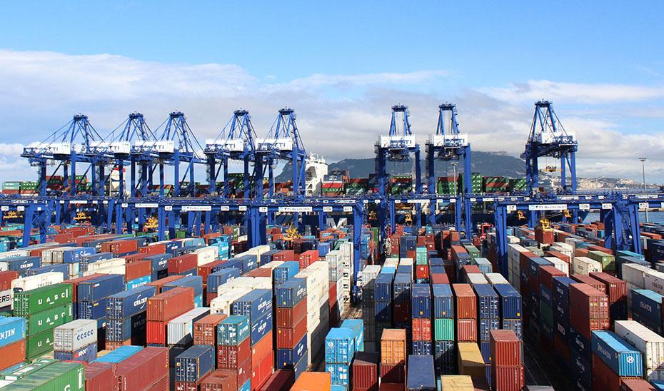 Contenedores con productos para la exportación dispuestos en los muelles del puerto.