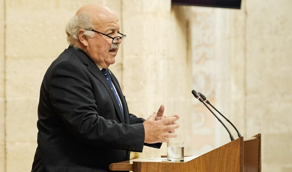 Jesús Aguirre, durante su comparecencia ante el Pleno del Parlamento.