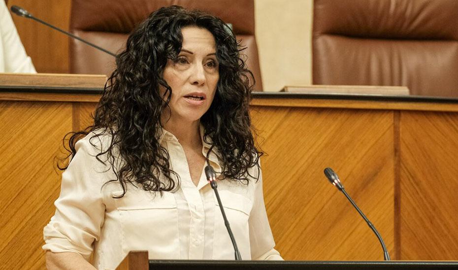 Intervención este miércoles desde la tribuna de oradores de la consejera de Igualdad, Políticas Sociales y Conciliación, Rocío Ruiz.