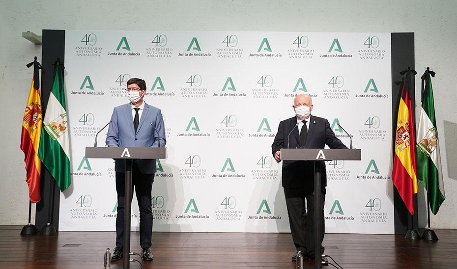 Comparecencia de Juan Marín y Jesús Aguirre tras la reunión dle gabinete de crisis (audio íntegro)