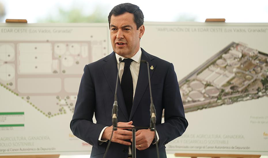 Moreno, durante su intervención en el acto de colocación de la primera piedra de la ampliación de la depuradora.