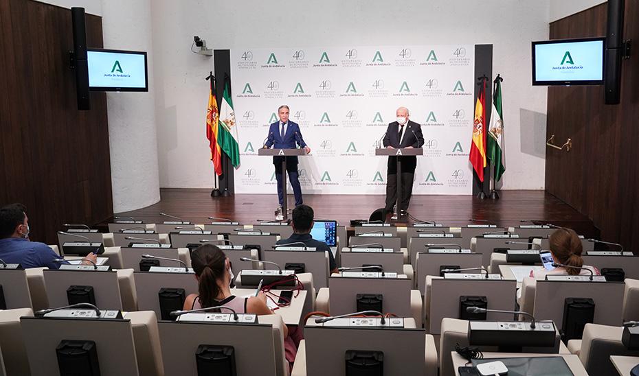 Comparecencia informativa de Elías Bendodo y Jesús Aguirre tras el Consejo de Gobierno (audio íntegro)