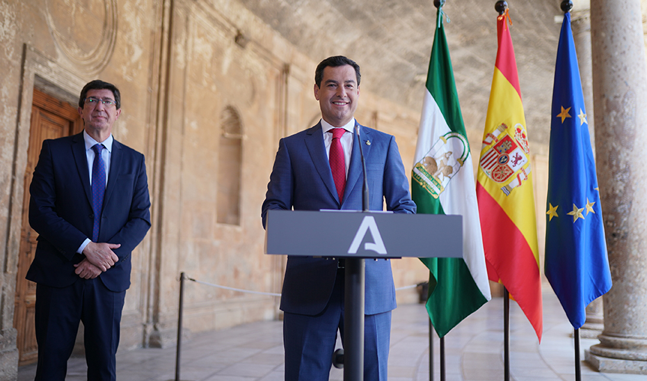 Comparecencia informativa de Juanma Moreno y Juan Marín tras el Consejo de Gobierno (audio íntegro)