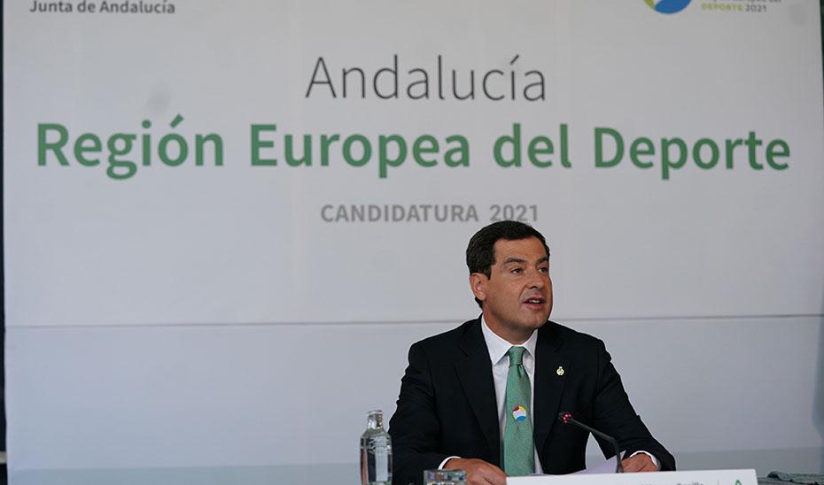Intervención de Juanma Moreno en la presentación de la candidatura de Andalucía a Región Europea del Deporte 2021