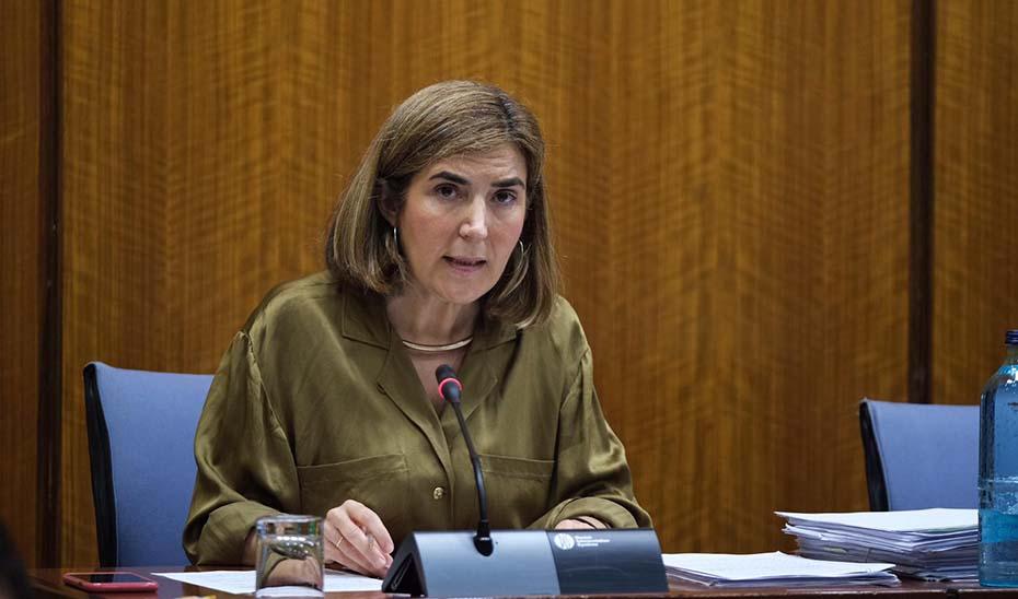 La consejera de Empleo, Formación y Trabajo Autónomo, Rocío Blanco, este jueves en la comisión parlamentaria.
