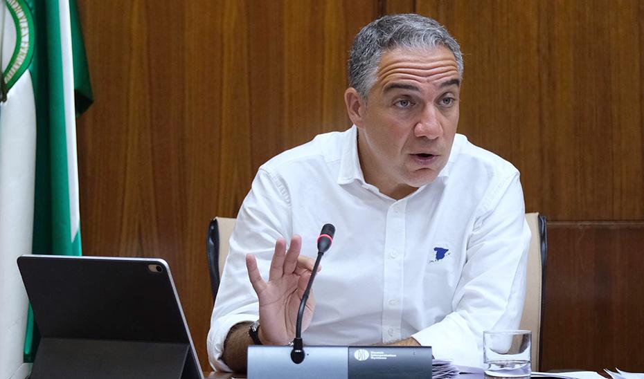 El consejero Elías Bendodo, durante la comisión parlamentaria.
