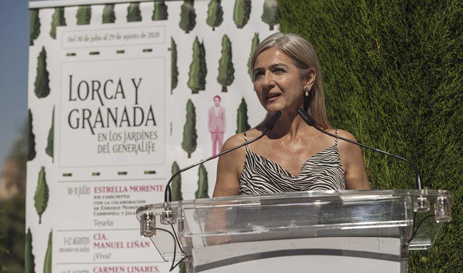 Del Pozo, durante la presentación de una nueva edición del ciclo \u0027Lorca y Granada en los Jardines del Generalife\u0027.