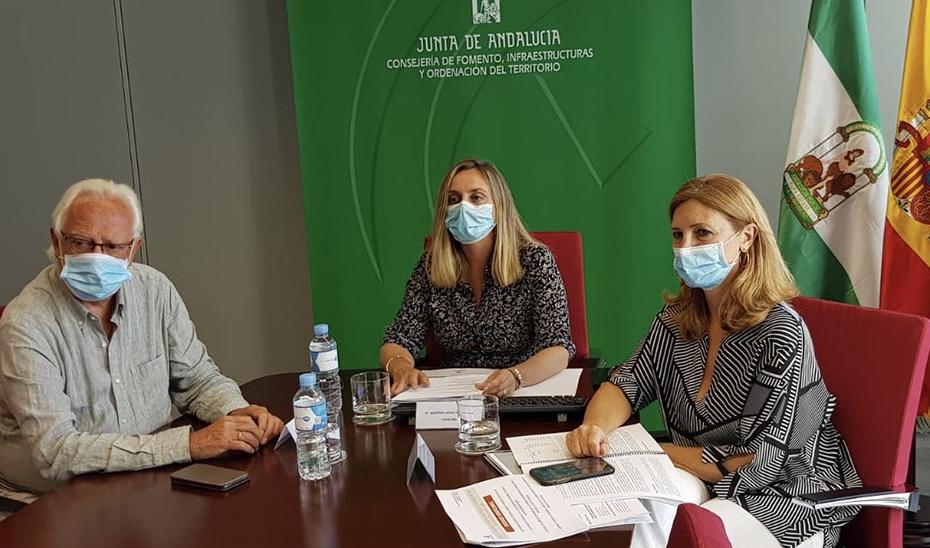 Marifrán Carazo, junto al viceconsejero de Fomento, Jaime Raynaud, y la secretaria general de Vivienda, Alicia Martínez, durante la videoconferencia.