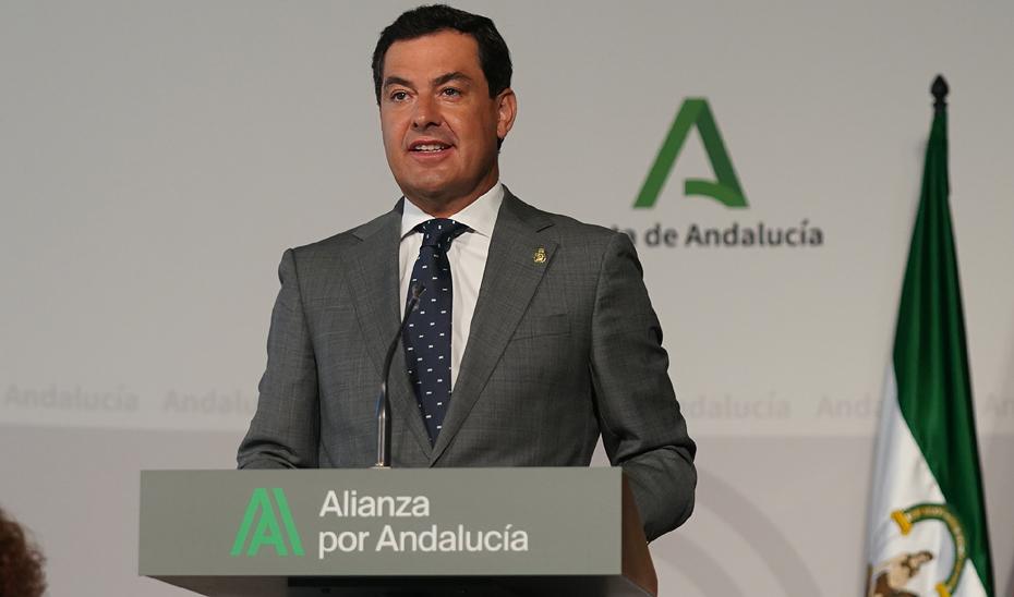 Intervención de Juanma Moreno en la firma con los agentes sociales del Acuerdo para la Reactivación Económica y Social de Andalucía