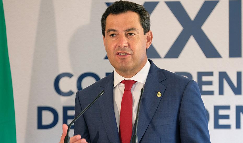 El presidente andaluz en la rueda de prensa posterior a la Conferencia de Presidentes