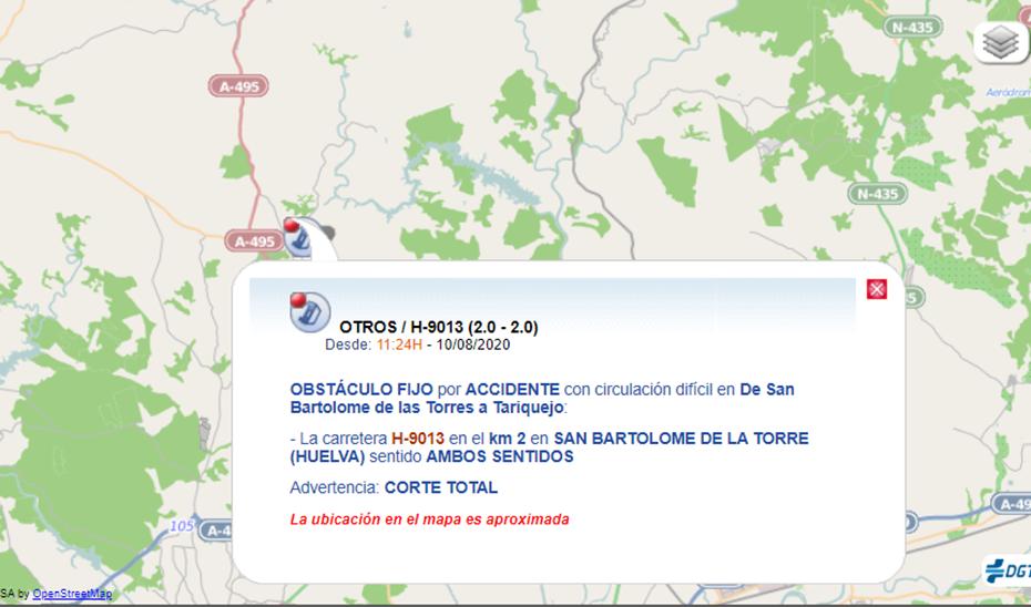 Lugar del accidente del camión en San Bartolomé.