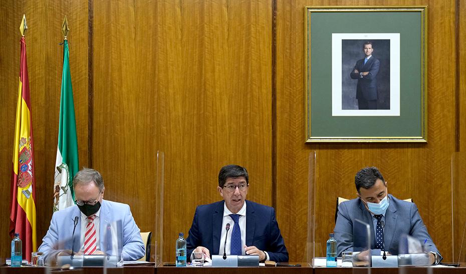 El vicepresidente de la Junta, Juan Marín, durante la comisión parlamentaria.