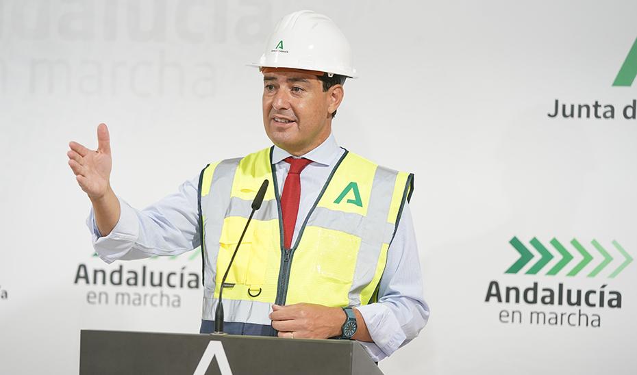 Intervención del presidente Juanma Moreno tras la visita a las obras del Hospital de Osuna