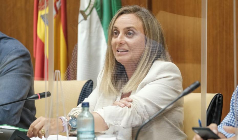 La consejera Marifrán Carazo comparece en la Comisión de Fomento del Parlamento de Andalucía.
