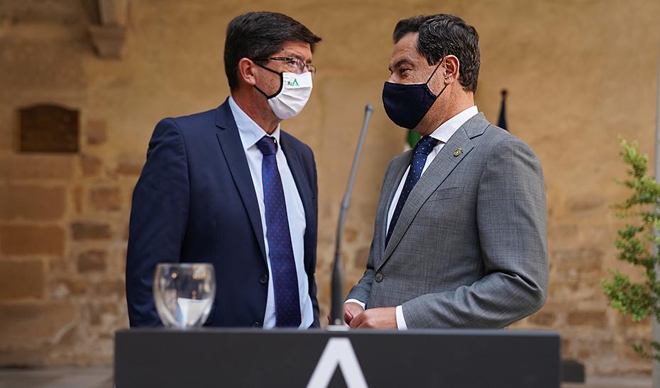 Comparecencia de Juanma Moreno y Juan Marín tras el Consejo de Gobierno (audio íntegro)