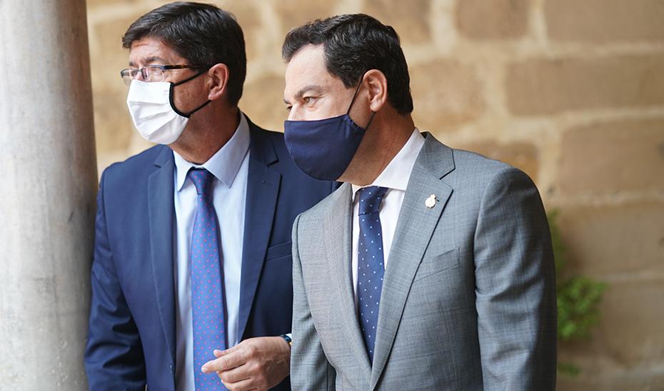 Intervención de Juanma Moreno y Juan Marín tras la reunión del Consejo de Gobierno en Úbeda (Jaén)