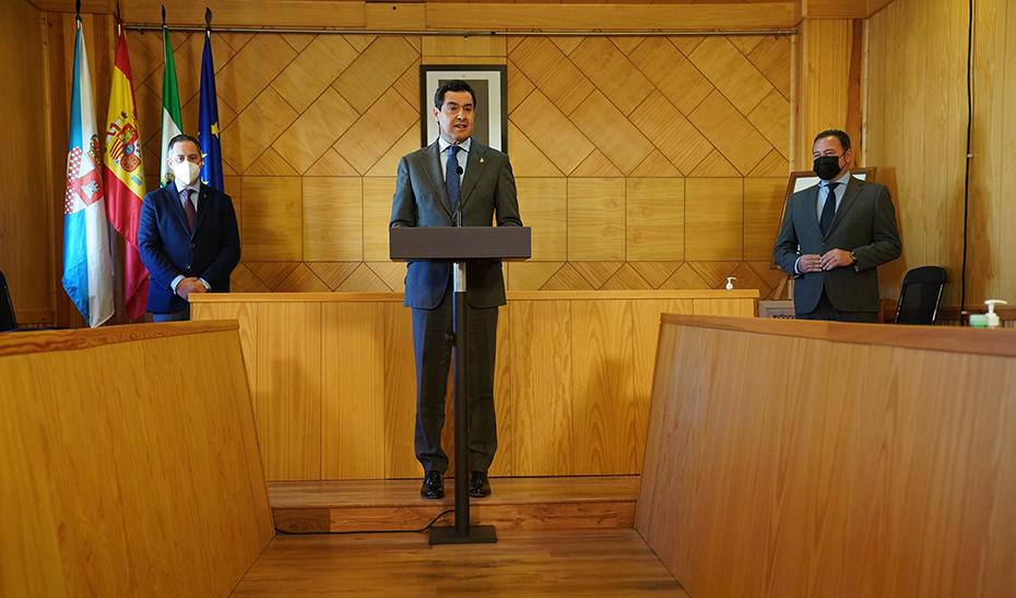 Intervención del presidente de la Junta, Juanma Moreno, en su visita institucional a La Roda de Andalucía